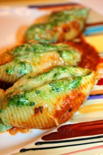 Plated Ricotta, Kale, and Spinach Stuffed Shells