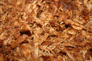 A closeup of the Perfect Pulled Chicken