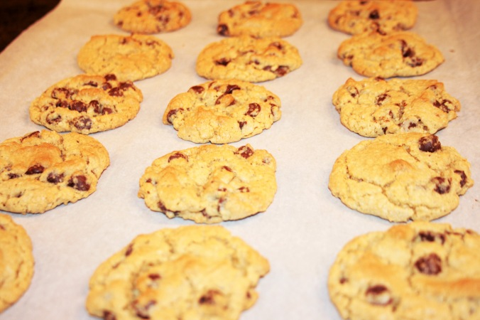 chocolate chip cookies on the sheet