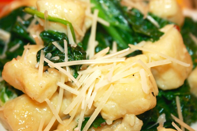 Ricotta Gnocchi with Greens and Cream