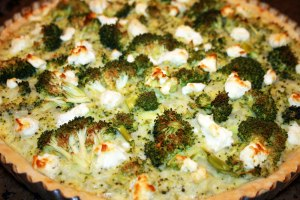 Broccoli, Cheddar & Goat Cheese Quiche