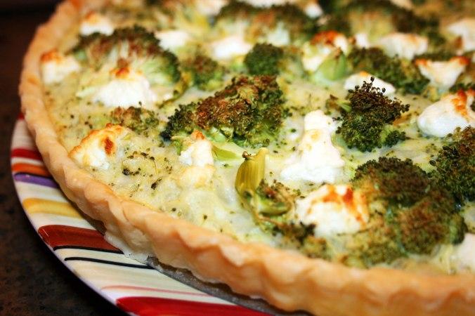 Broccoli, Cheddar & Goat Cheese Quiche